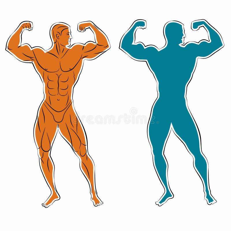 Silhouet van bodybuilder, vectortekening stock illustratie