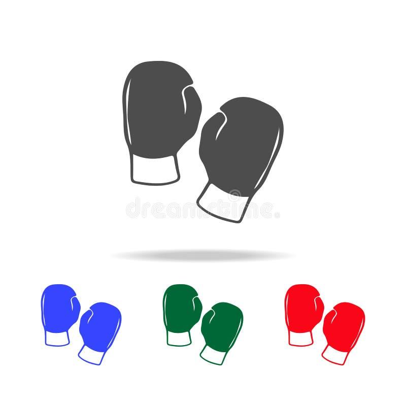 Silhouet van bokshandschoenpictogrammen Elementen van sportelement in multi gekleurde pictogrammen Grafisch het ontwerppictogram  vector illustratie