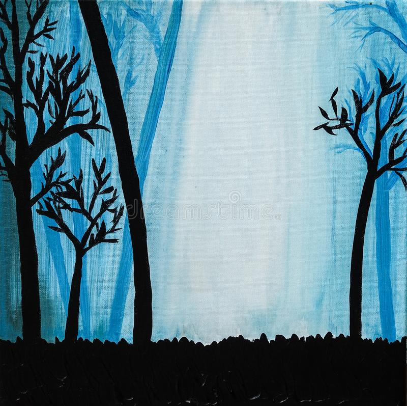 Silhouet van bomen in mistig blauw bos royalty-vrije illustratie