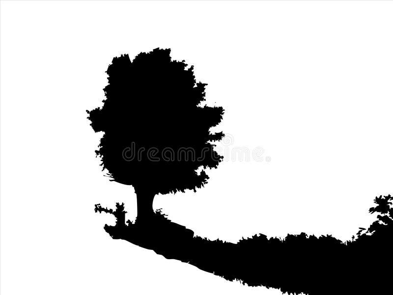 Silhouet van boom stock illustratie