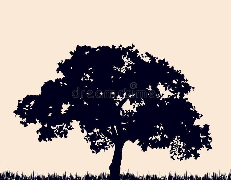 Silhouet van boom met gras. Vector vector illustratie