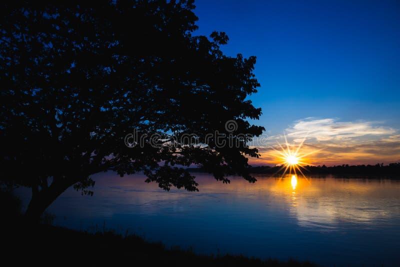 Silhouet van boom op linkerzijde met rivier en zongloed op zonsondergang royalty-vrije stock foto's