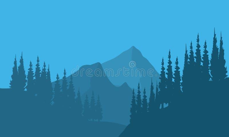 Silhouet van bossparren en berg vector illustratie