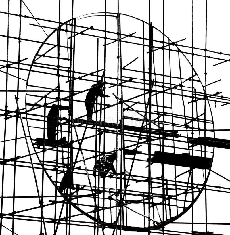 Silhouet van bouw stock foto's