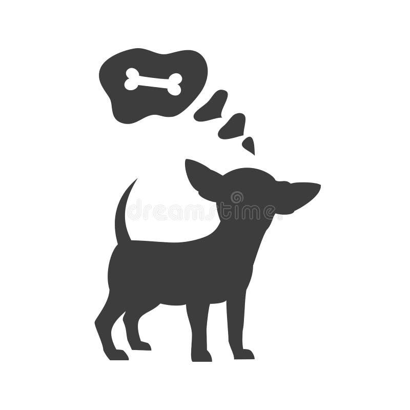 Silhouet van chihuahua met bel op de witte achtergrond vector illustratie