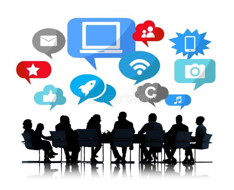 Silhouet van Commerciële Vergadering met Sociale Netwerken stock illustratie
