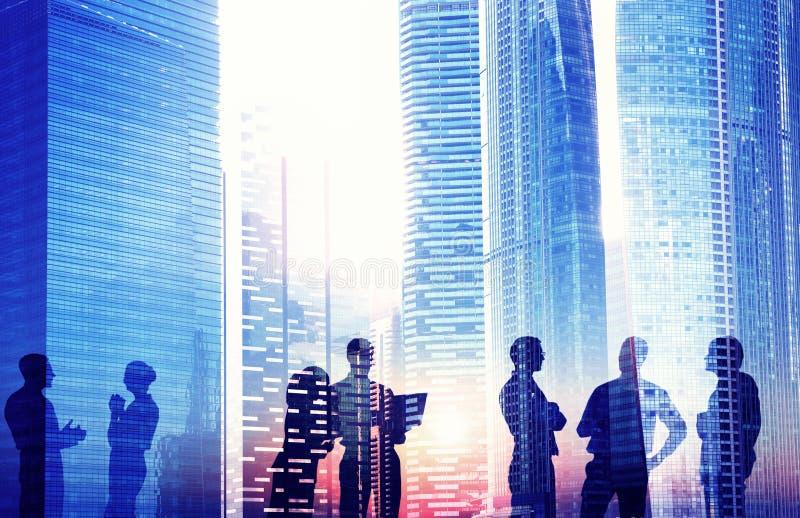 Silhouet van Commerciële Vergadering met Sociale Netwerken royalty-vrije illustratie