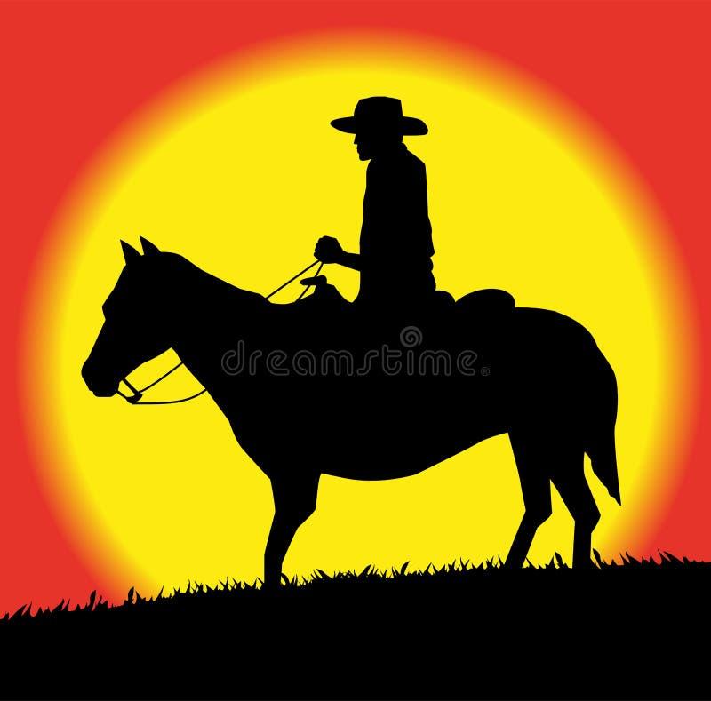 Silhouet van cowboy op paard royalty-vrije illustratie