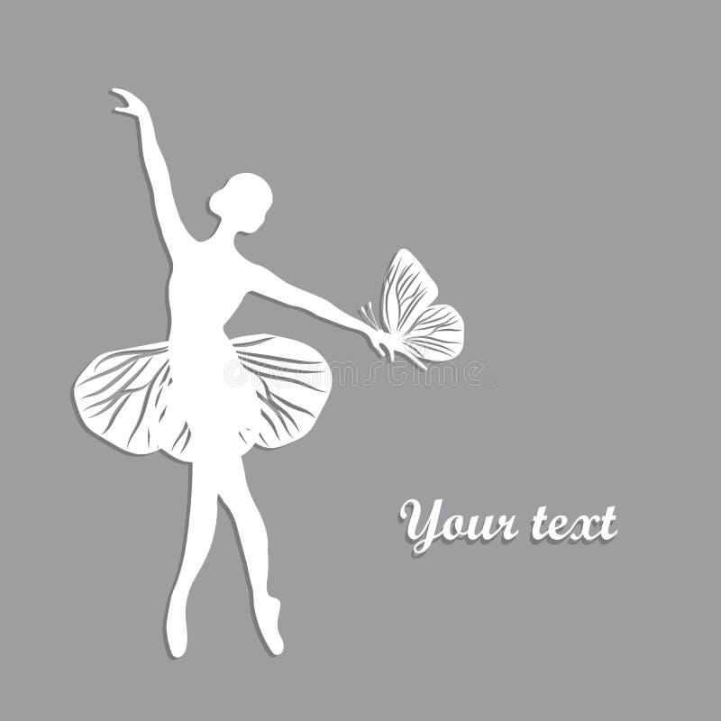 Silhouet van dansend meisje met butterfliy royalty-vrije illustratie