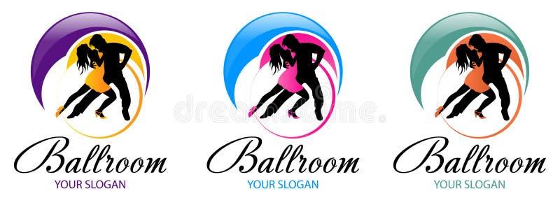 Silhouet van dansend paar De ontwerpenmalplaatje van het dansembleem Elementen van dans multi gekleurde pictogrammen Eenvoudig pi royalty-vrije illustratie