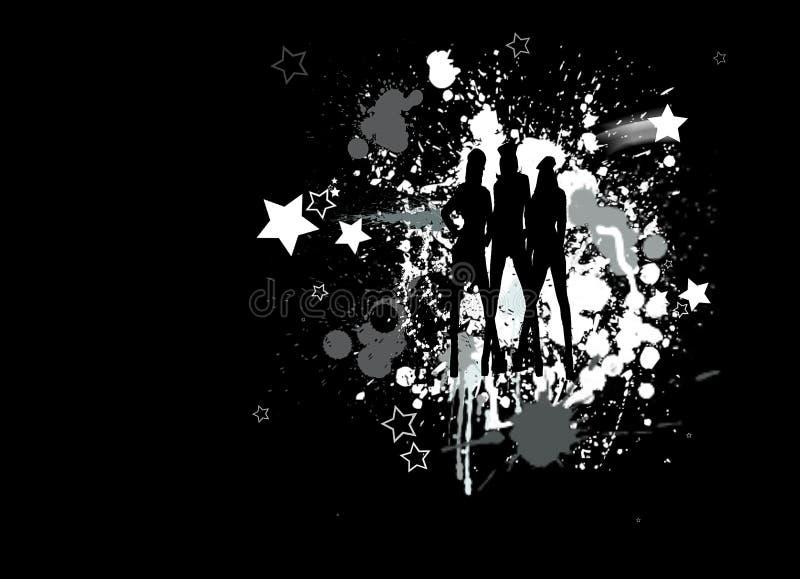 Silhouet van dansende meisjes vector illustratie