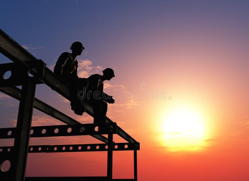 Silhouet van de arbeiders stock illustratie