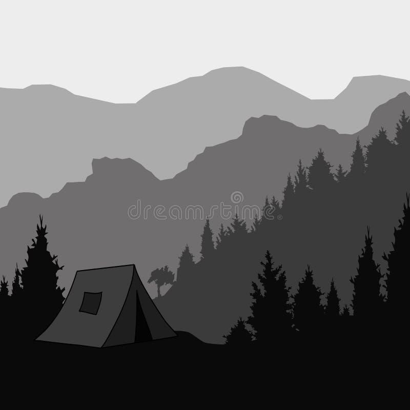 Silhouet van de berg en de tent voor trekking Vector illustratie stock illustratie