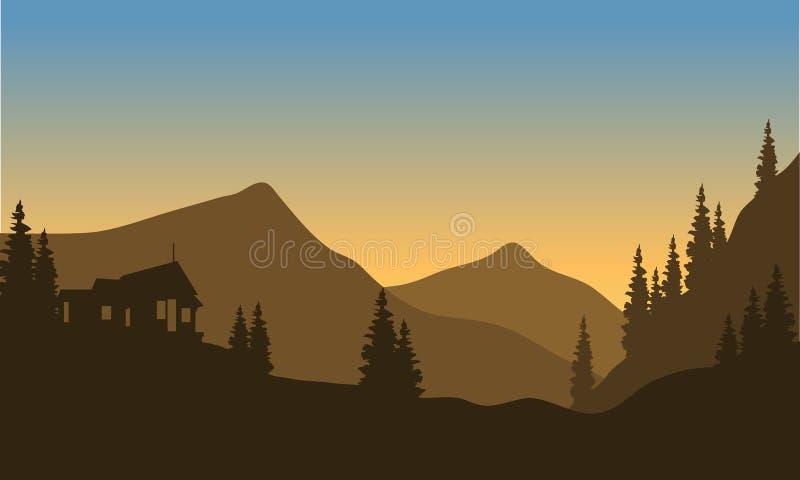 Silhouet van de berg van onderaan vector illustratie