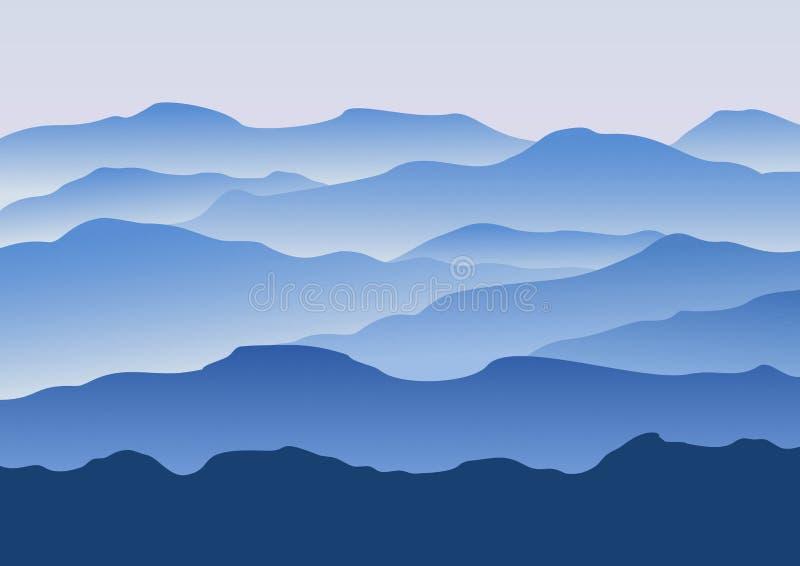 Silhouet van de bergen in de ochtend vector illustratie
