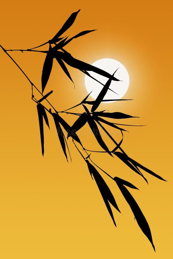Silhouet van de Bladeren van het Bamboe royalty-vrije stock afbeeldingen