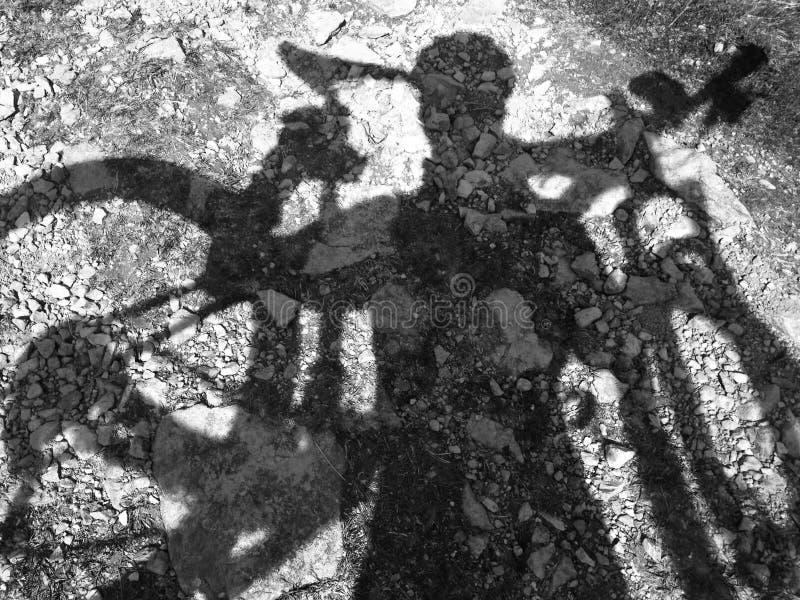 Silhouet van de dragende fiets van de bergfietser stock foto
