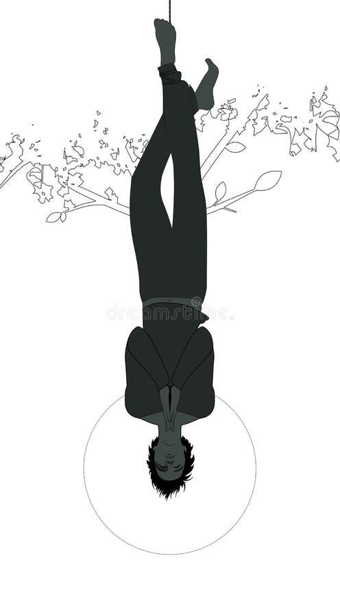 Silhouet van de gehangen mens van een boom, gezicht neer, onderwerp van de juiste die voet, met het bidden handen, op witte achte stock illustratie