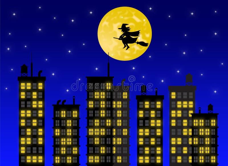 Silhouet van de heks die over de stad bij nacht vliegen royalty-vrije illustratie