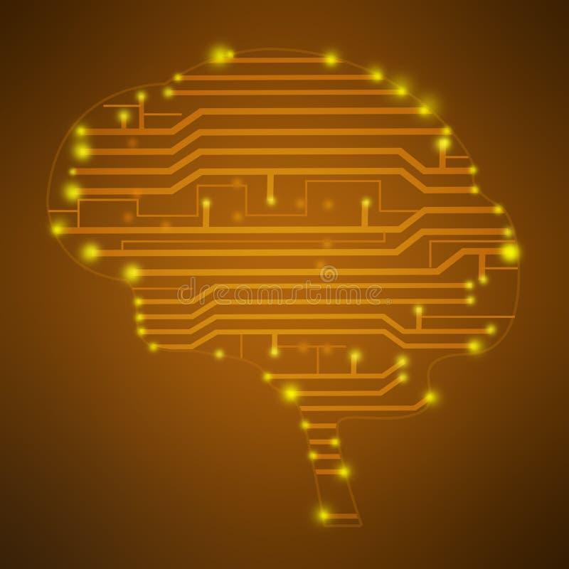 Silhouet van de hersenen in de kringen van de vormtekening vector illustratie