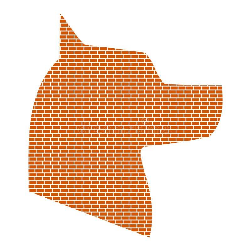 Silhouet van de hond Bakstenen muurontwerp Vector illustratie vector illustratie
