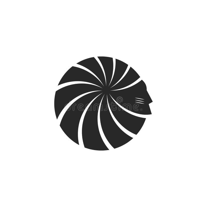 Silhouet van de hoofd Amerikaanse Indische mannelijke leider van het gezichtsembleem met de bevederde bonnetten zwart-wit van de  royalty-vrije illustratie