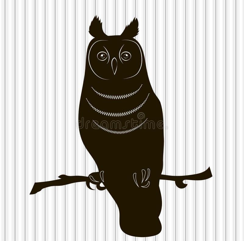 Silhouet van de lang-Eared Uil vector illustratie