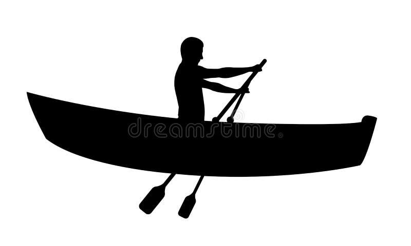 Silhouet van de mens in boot het roeien royalty-vrije illustratie