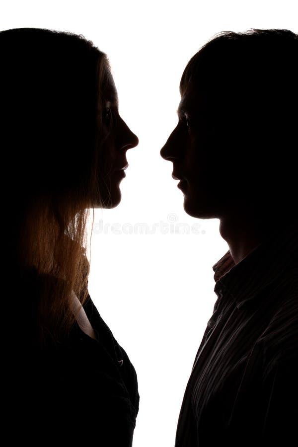 Silhouet van de mens en vrouw