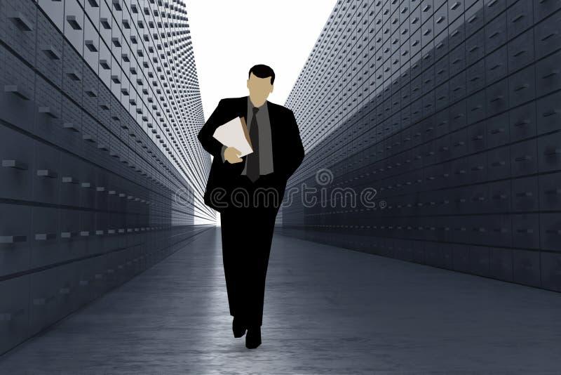 Silhouet van de Mens in het Pakhuis van Gegevens stock foto's