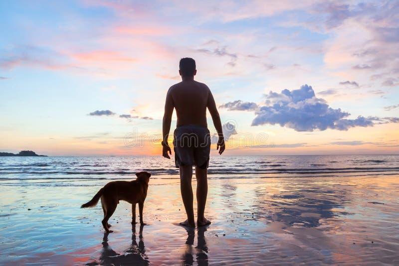 Silhouet van de mens met hond op het strand, vriendschapsconcept stock fotografie