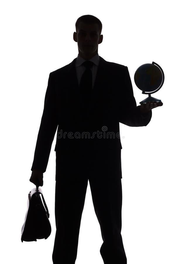 Silhouet Van De Mens Met Koffer En Bol Royalty-vrije Stock Fotografie