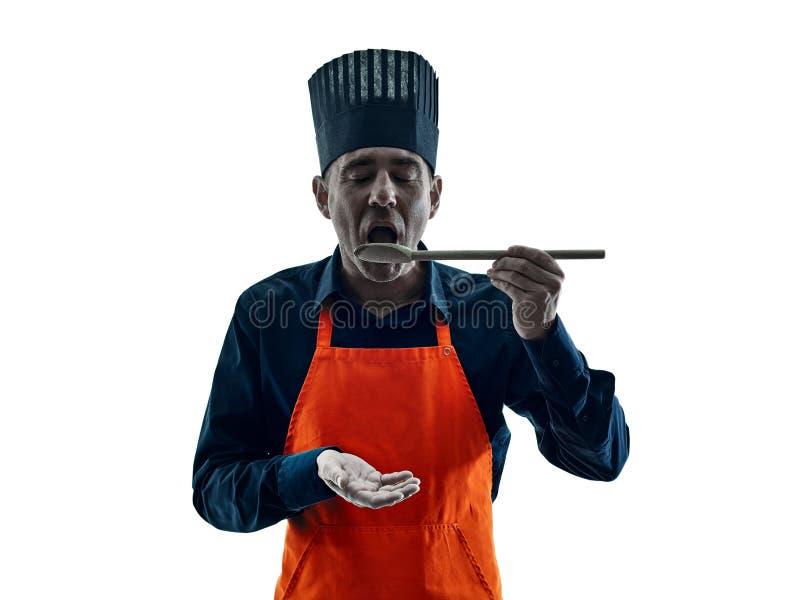 Silhouet van de mensen het kokende chef-kok royalty-vrije stock foto