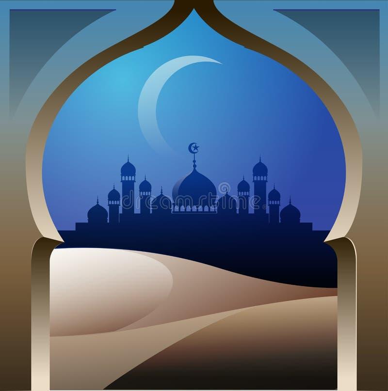 Silhouet van de moskee in de woestijn royalty-vrije illustratie