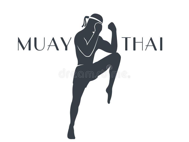 Silhouet van de Muay het Thaise atleet op wit vector illustratie