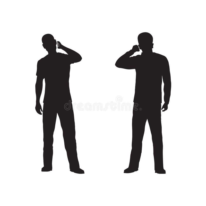 Silhouet van de persoon met telefoon stock foto's