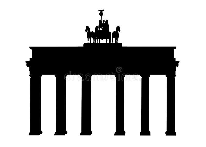 Silhouet van de Poort van Brandenburg in Berlijn stock illustratie