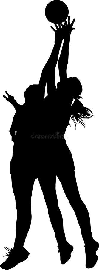 Silhouet van de spelers die van het meisjesnetball voor bal concurreren stock illustratie