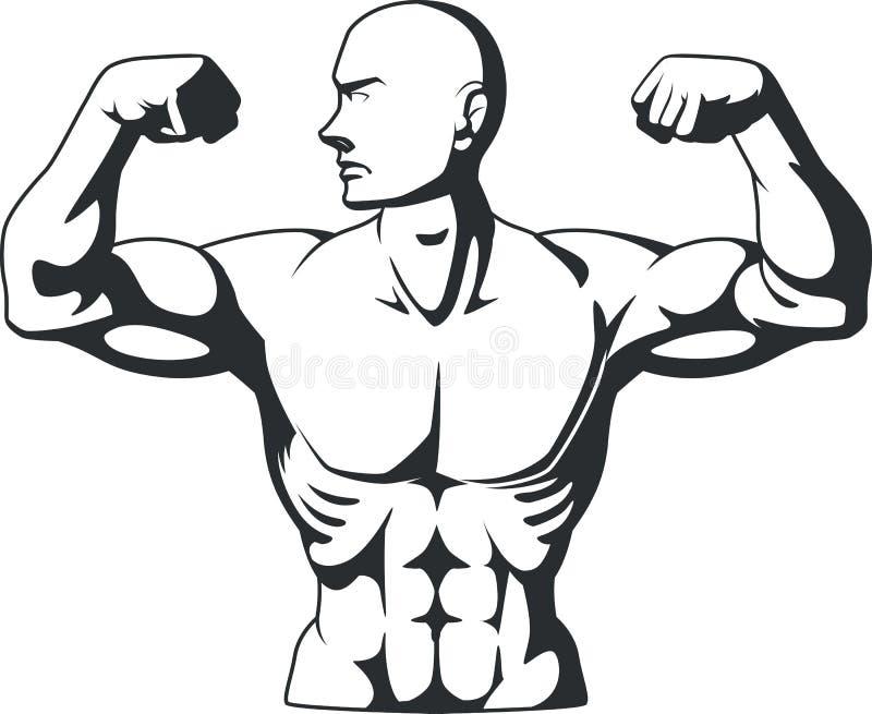 Silhouet van de Spieren van de Bodybuilderverbuiging royalty-vrije illustratie