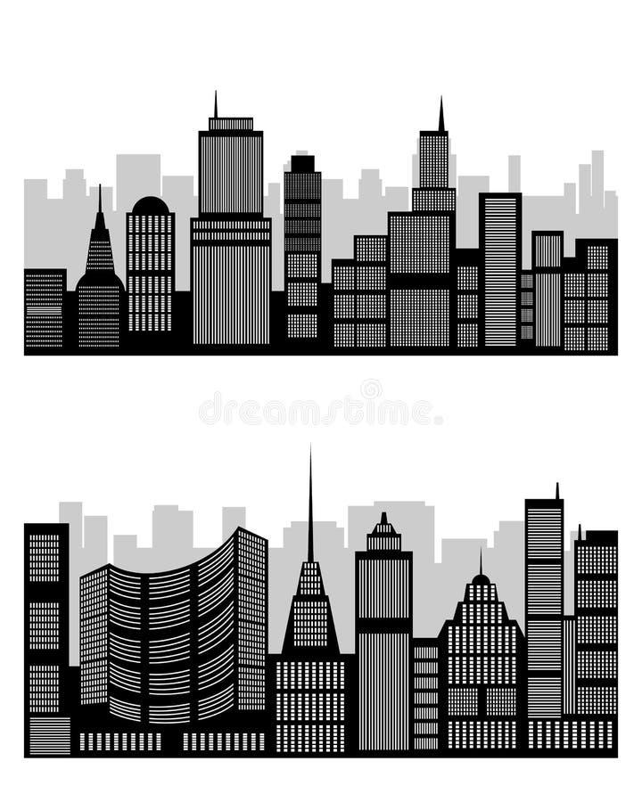 Silhouet van de stad stock illustratie