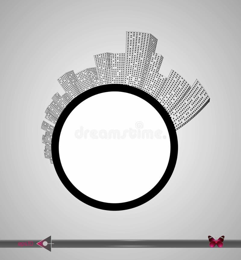 Silhouet van de stad en de wolkenkrabbers op de cirkel Plaats voor inschrijving Stedelijk, onroerende goederen, agentschap royalty-vrije illustratie