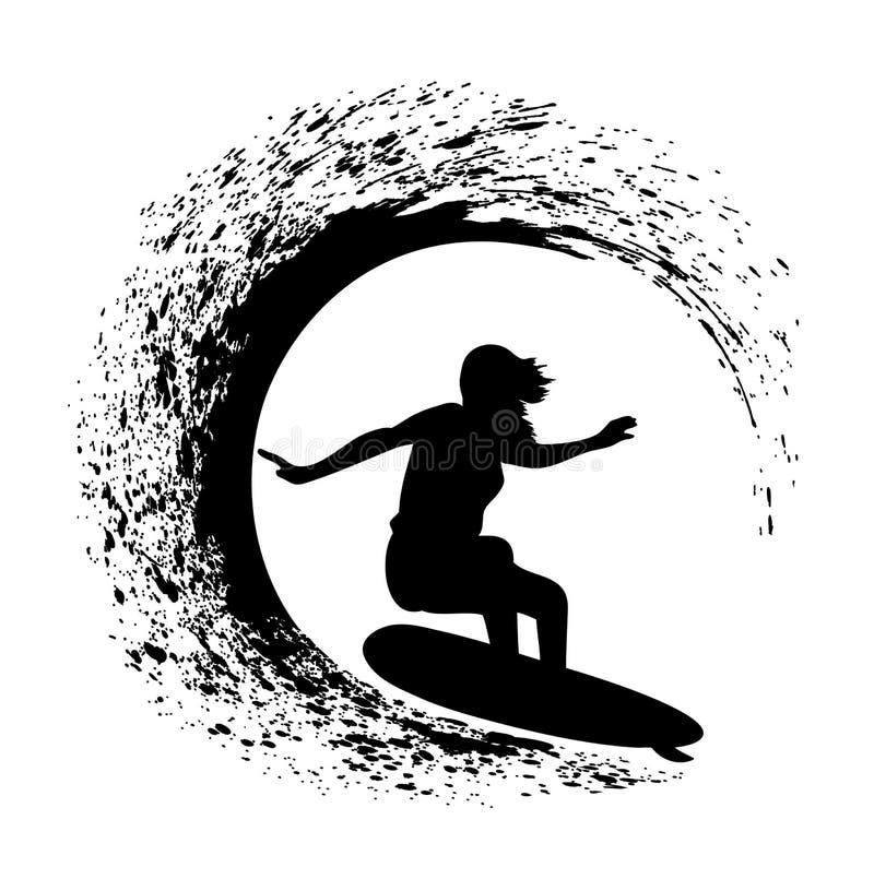 Silhouet van de surfer op een oceaangolf in stijl grunge stock illustratie