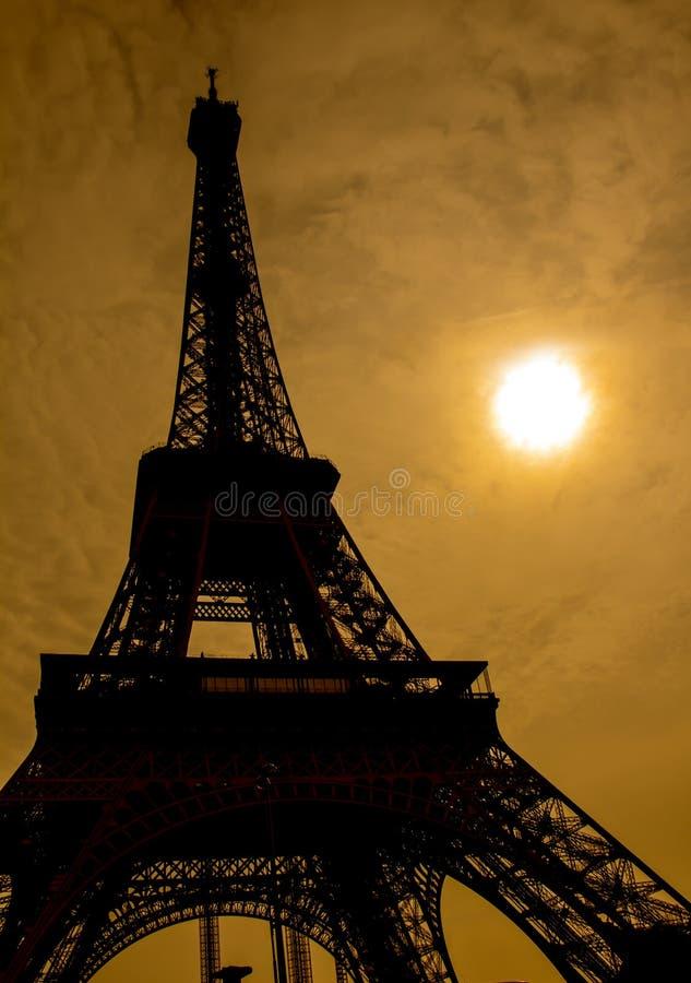 Silhouet van de Toren van Parijs Eiffel stock afbeeldingen