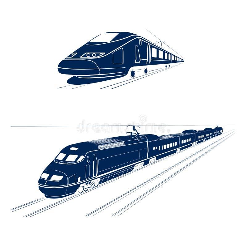 Silhouet van de trein van de hoge snelheidspassagier vector illustratie
