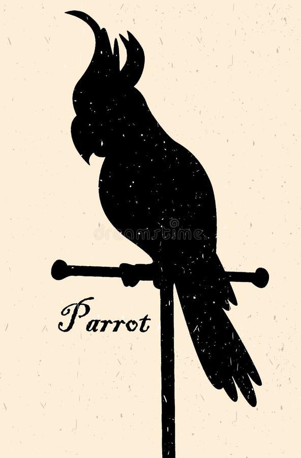 Silhouet van de vogel Een papegaai op een toppositie vector illustratie