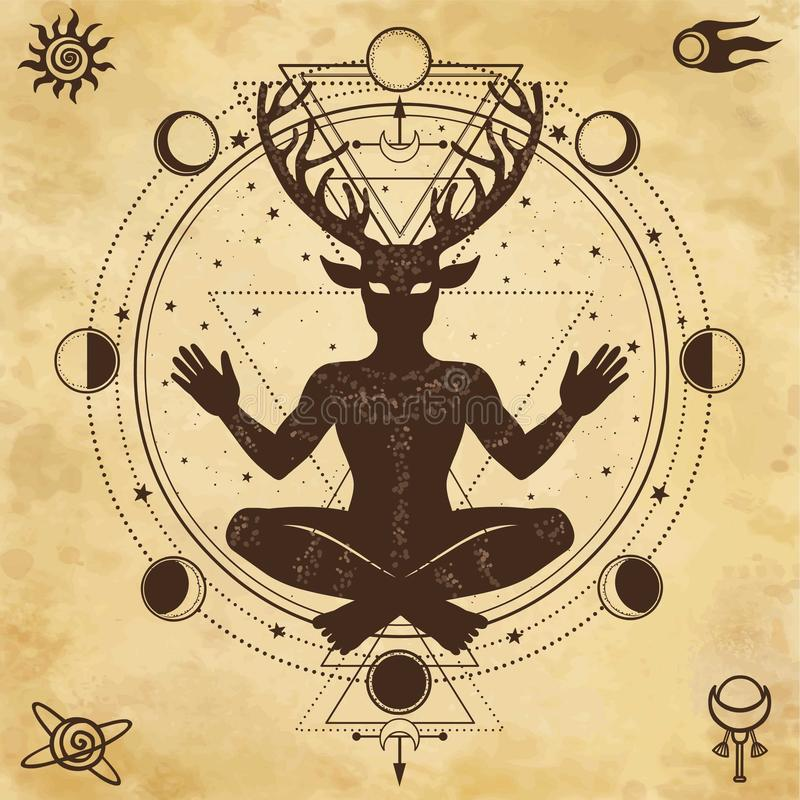Silhouet van de zittings gehoornde god Cernunnos vector illustratie