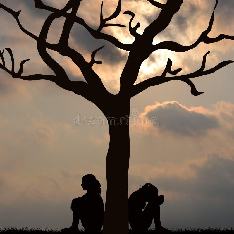 Silhouet van droevige vrouwen die onder de boom zitten stock afbeeldingen