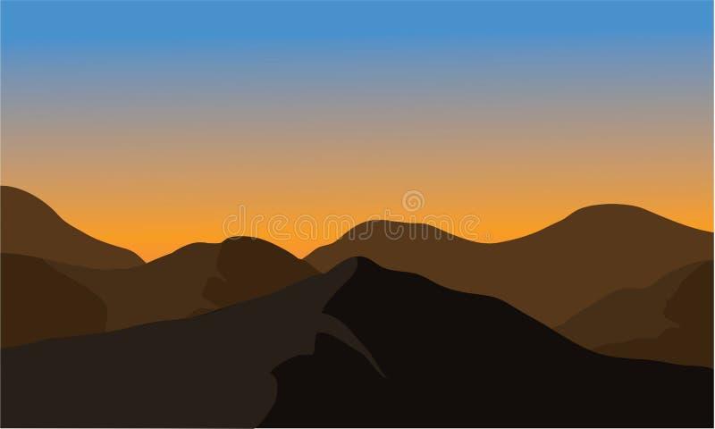 Silhouet van droge berg vector illustratie