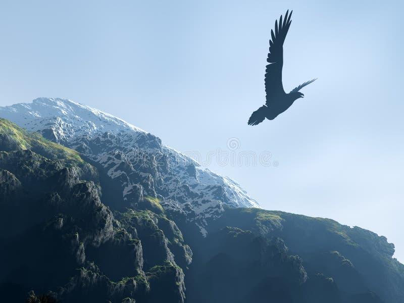 Silhouet van een adelaar die boven bergen stijgt royalty-vrije stock fotografie