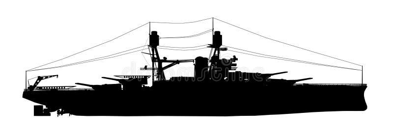 Silhouet van een Amerikaans slagschip van Wereldoorlog II royalty-vrije illustratie
